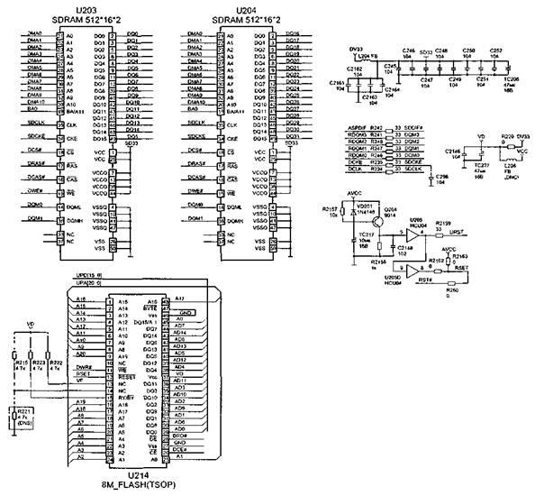 """152 подключается вход микрофона для режима  """"караоке """".  На выв.  158 формируется сигнал RESET."""