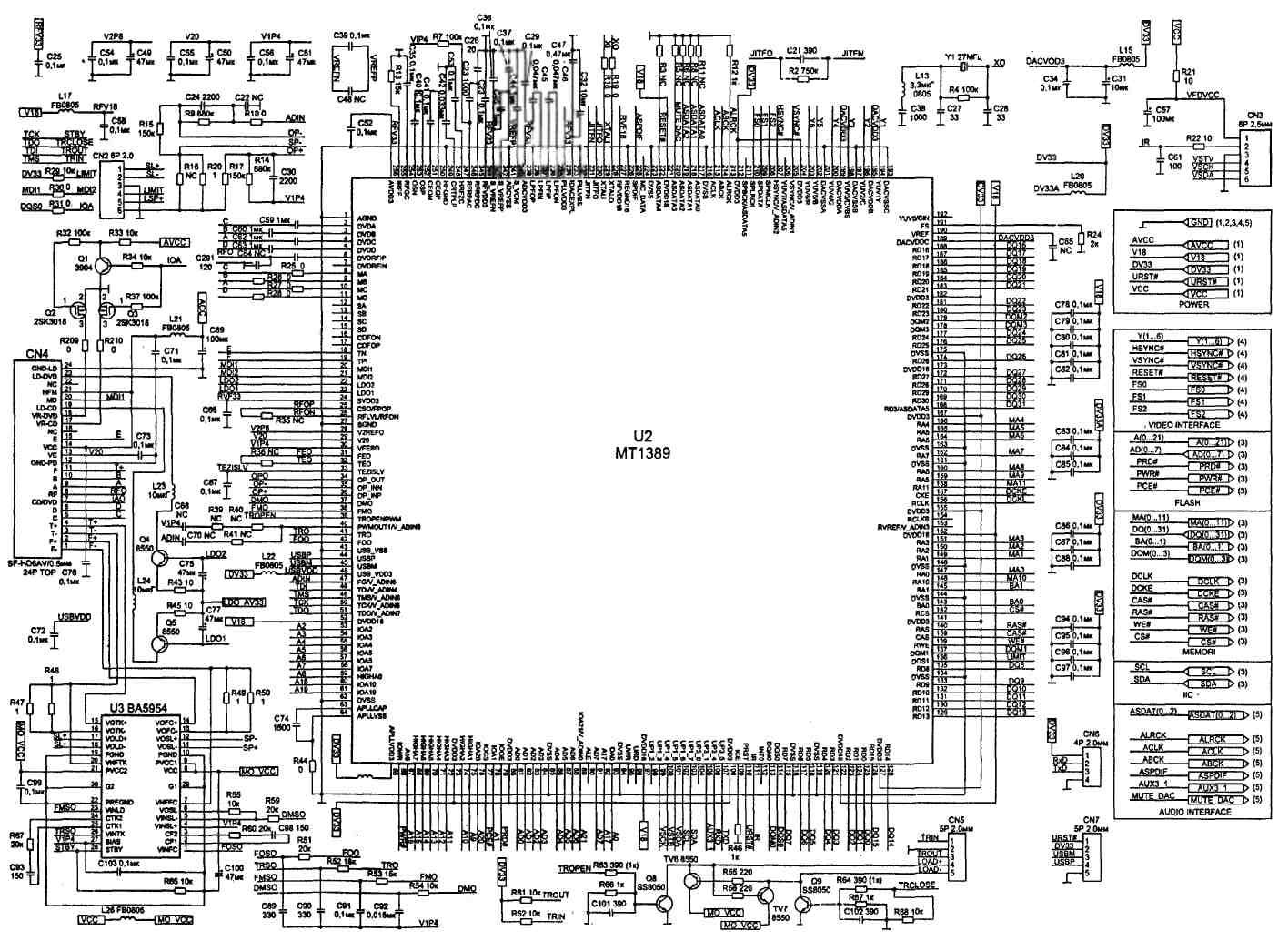 Полный каталог принципиальных электрических схем и сервисных / Импортные dvd-плееры.  Схемы dvd-плеера ВВК Модель...